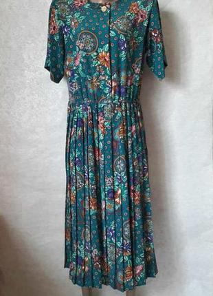 Новое нарядное платье цвета бирюза в цветочный принт и юбкой п...