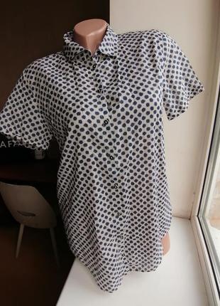 Летняя натуральная блузка с коротким рукавом принт горох marc ...