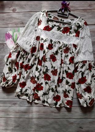 Нарядная блузка свободного кроя вискоза