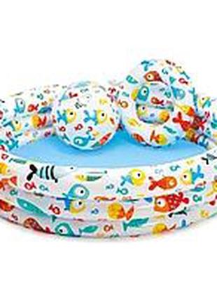 Надувной бассейн детский Intex 59460, Фрукты с мячом и кругом