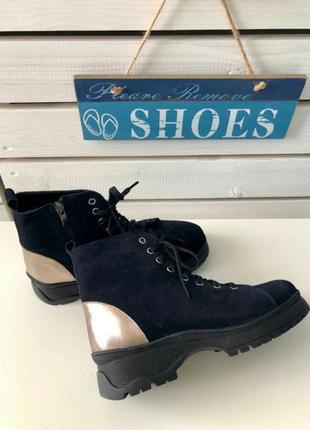 Стильные темно-синие ботинки велюр зима