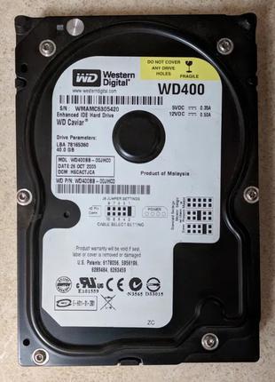 Жёсткие диски 40Gb, 160Gb, 400Gb с интерфейсом IDE плюс шлейф