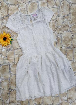 Платье молочное ажурное