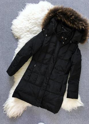 Пуховик куртка пальто мех енот пух перо натуральный воротник