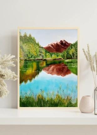 Горный пейзаж маслом на холсте оригинальная картина живопись