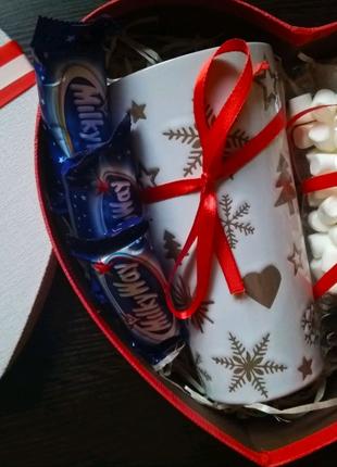 Вкусный бокс, чашка, маршмеллоу, подарок, подарок на 14 февраля