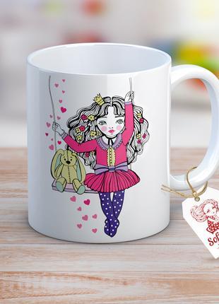 """Дизайнерская чашка """"Принцесса и зайчик"""""""