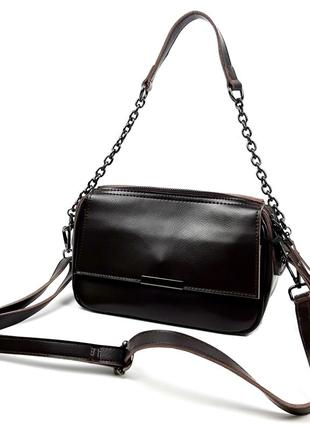 Женская кожаная темно-коричневая (шоколад) сумка