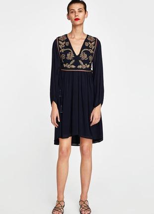 Платье с вышивкой бисером zara