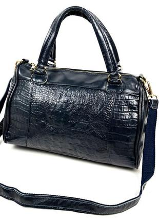 Женская сумка из натуральную кожу под рептилию синяя