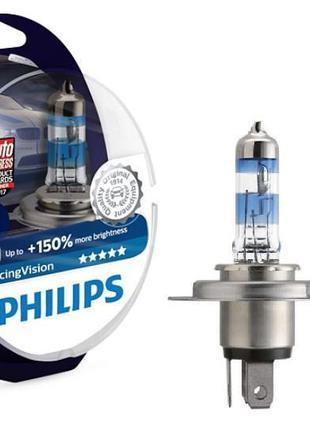 Комплект галогеновых ламп Philips H4 Racing Vision +150% 12v 6...