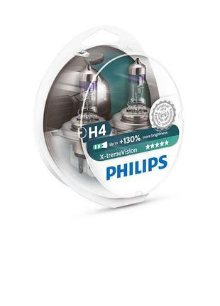 Комплект галогеновых ламп Philips H4 X-treme Vision +130% 12v ...