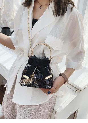 Женская мини сумочка клатч материал: экокожа pu паетки пайетки