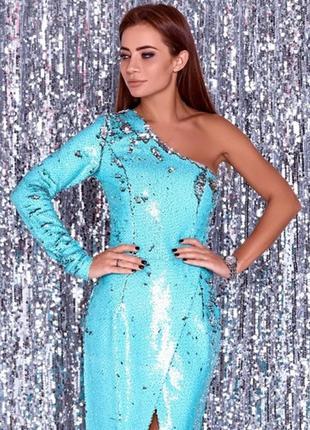 Шикарное платье из двусторонних пайеток бирюзового цвета