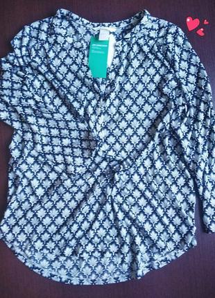 Блуза h&m, рубашка трикотажная принт , молодежная одежда