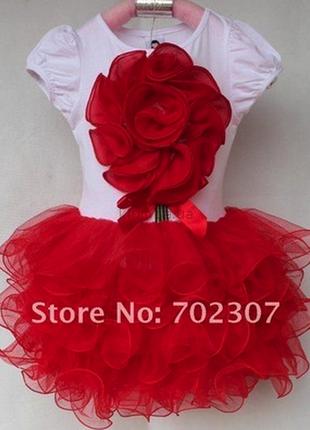 Распродажа красивенные нарядные платья с юбкой ту ту с 3д цветком