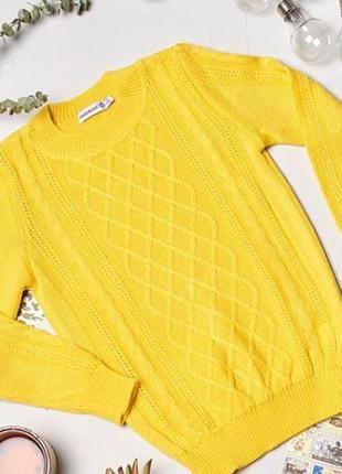 Свитер яркий желтый косички зимний шерсть