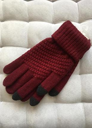 Перчатки женские бордо