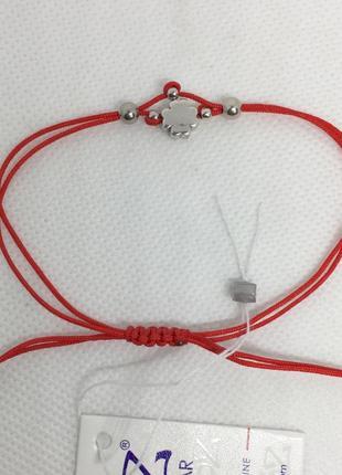 Красная нить браслет клевер серебро 925 пробы