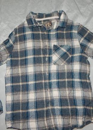 Теплая байковая  плотная модная рубашка на мальчика 12 лет 152 см