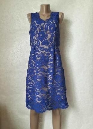 Фирменное oasis платье-миди с плотного кружева цвете електрик,...