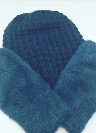 Женский комплект (колпак юность и варежки v-25)  (темно синий)