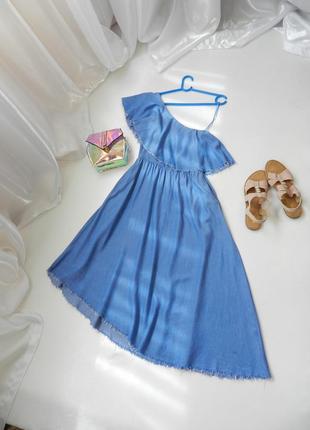 ✅ шикарное платье ассиметрия из 100% натуральной ткани штапель...