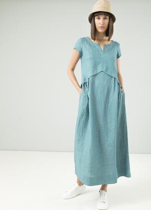 Летнее платье из льна season в стиле бохо бирюзового цвета