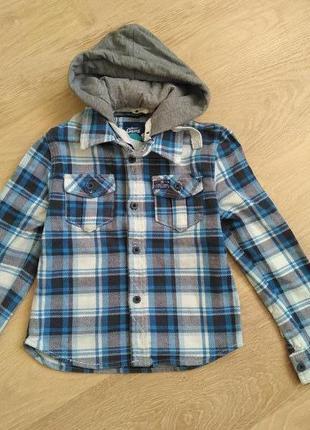 Плотная котоновая рубашка с капюшоном street gang