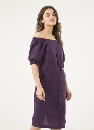 Фиолетовое льняное платье с открытыми плечами
