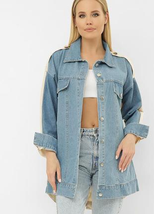 Комбинированная женская джинсовая куртка прямого силуэта турци...