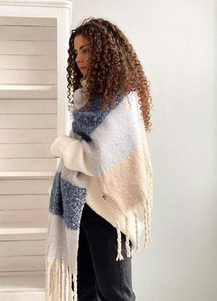 3 цвета! объемный шарф теплый