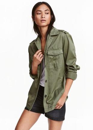 Куртка  женская летняя   цвета хаки  на пуговицах h&m