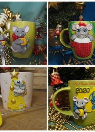 Чашки с мышками на Новый год