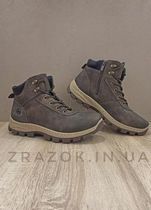 Коричневые мужские высокие ботинки кожаные на змейке туфли эко...