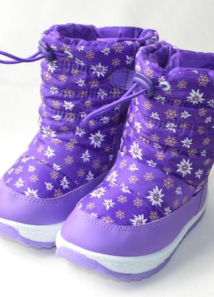 Детские дутики на зиму теплые для девочки сапоги фиолетовые ро...