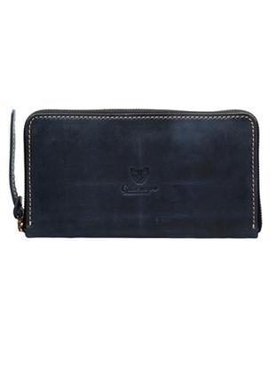 Женский кожаный кошелек gato negro ручной работы синий