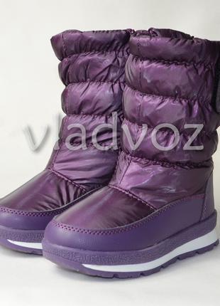 Детские дутики теплые на зиму для девочки термо сапоги фиолето...