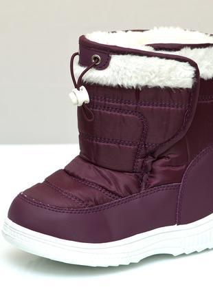 Детские дутики зимние сапоги на зиму для девочки фиолетовые 28...