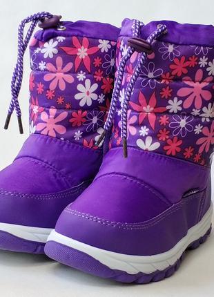 Детские дутики зимние сапоги теплые на зиму для девочки фиолет...