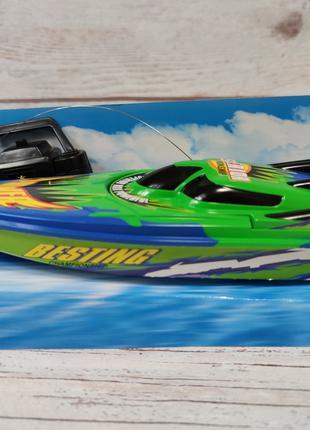 Катер на радиоуправлении пульте управления зелёный Racing Boat
