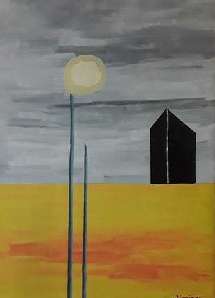 """Картина """"Черный обелиск"""". Абстракция."""