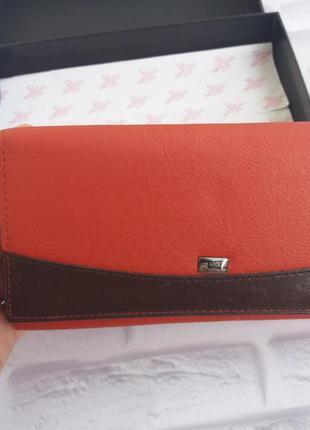 Красный кошелек из натуральной кожи шкіряний гаманець