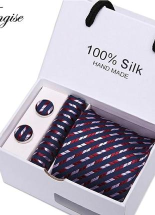 Набор подарочный галстук запонки платок мужчине подарок краватка