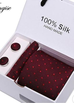 Подарочный мужской набор галстук запонки платок чоловіку подарок
