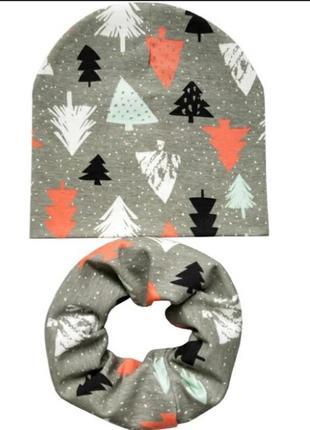 Хлопковий новый набор осений весняный шапка и шарф хомут снуд ...