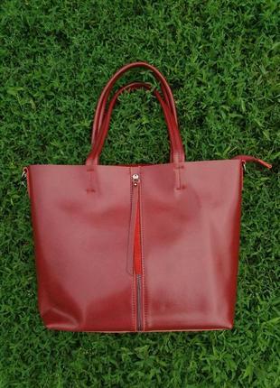 Женская кожаная сумка большая жіноча шкіряна велика червона