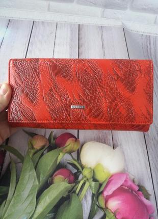 Кожаный женский кошелек из натуральной кожи красный жіночий шк...
