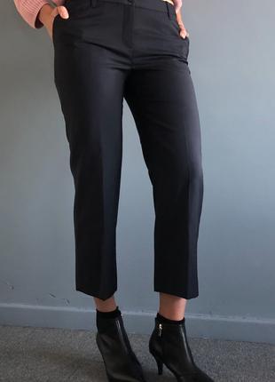 Темно-синие укороченные брюки-чиносы из натуральной ткани