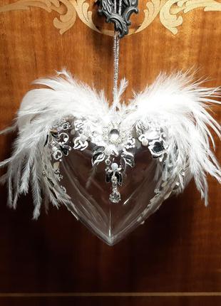 Ангел любви,сердце,авторская новогодняя игрушка ручной работы ...